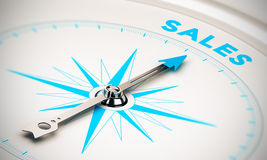 Sales. Compass with needle pointing the word sales, white and blue tones. Background image for illustration of sales goals royalty free illustration