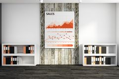 Sales concept. Modern office interior with business sketch on wall and shelves with folders. Sales concept. 3D Rendering royalty free illustration