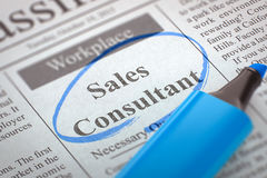 Sales Consultant Job Vacancy. 3D. Sales Consultant - Advertisements and Classifieds Ads for Vacancy in Newspaper, Circled with a Blue Highlighter. Blurred Image Royalty Free Stock Photography