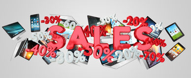 Sales and devices concept 3D rendering Royalty Free Stock Photo