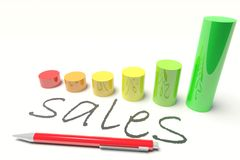 Sales diagram. Sales with a Diagram and Pen Royalty Free Stock Photo