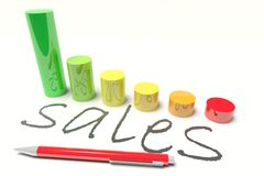 Sales diagram. Sales with a Diagram and Pen Royalty Free Stock Images