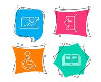 Sales diagram, Sign out and Disabled icons. Education sign. Sale growth chart, Logout, Handicapped wheelchair. Royalty Free Stock Photos