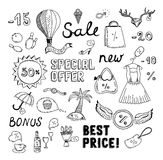 Sales and discount doodles sketch. Hand drawn vector illustration set of sales and discount savings doodle elements. Isolated on white background Stock Photography