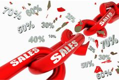 Sales discount prices broken red chain 10 20 30 40 50 60 70 isolated for background - 3d rendering. Image royalty free illustration