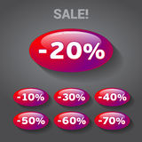 Sales discount tags. Red bubble tags with percentage discounts and text graphic sale with exclamation point Royalty Free Stock Image