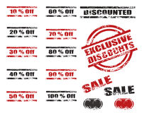 Sales Discounts grunge stamp set. Set of sixteen Discount grunge stamp, red & black stamp colors four different types ,isolated on white.png file also available Royalty Free Stock Photography