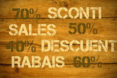 Sales discounts in various languages Royalty Free Stock Photos