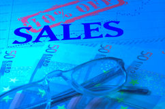 Sales doc and money. Euro in blue effect Stock Image