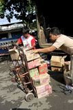 Sales. Are doing merchandise distribution to traders at a market in Karanganyar, Central Java, Indonesia Stock Photography