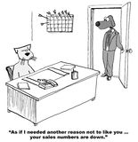 Sales are Down. Business cartoon of boss dog saying to salesman cat, 'As if I needed another reason not to like you... your sales numbers are down Royalty Free Stock Photos