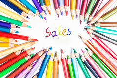 Sales, drawing by colour pencils Stock Photography