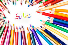 Sales, drawing by colour pencils Royalty Free Stock Image