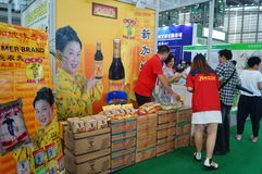 Sales exhibition of soy sauce Royalty Free Stock Photos
