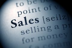 Sales. Fake Dictionary, Dictionary definition of the word Sales Stock Images