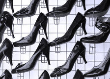 Sales of fashionable footwear stock image