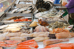 Sales of fresh fish Stock Photos