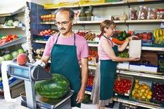 Sales an in fruit market shop Stock Photo