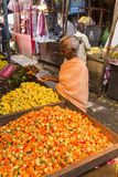 Sales of fruit and vegetables on indian market Royalty Free Stock Photo