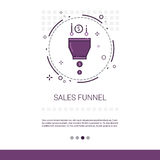 Sales Funnel Analysis Concept Finance Data Web Banner With Copy Space. Vector Illustration Royalty Free Stock Photography