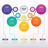 Sales funnel or Business presentation concept with 5 options. We Stock Image