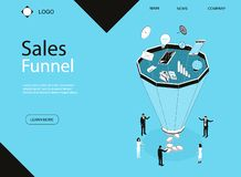 Sales Funnel Concept Banner Card with Elements. Vector vector illustration