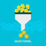Sales Funnel Converting Ideas into Money Flat Concept Royalty Free Stock Image