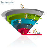 Sales funnel 3d, graphics. Sales funnel for infographics on a white background 3D. Vector illustration stock illustration
