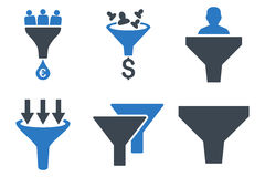 Sales Funnel Flat Glyph Icons. Sales Funnel glyph icons. Icon style is bicolor smooth blue flat symbols with rounded angles on a white background Stock Photos