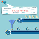 Sales funnel flat illustration,  graphics. Stock Photo