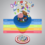 Sales funnel flat styled isometric illustration Royalty Free Stock Images