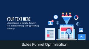 Sales funnel optimization - flat design web banner. Royalty Free Stock Photos