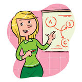 Sales girl. Explaining the sales project. eps 8 royalty free illustration