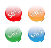 Sales glossy tags inserted in white paper Stock Photo