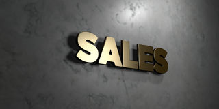 Sales - Gold sign mounted on glossy marble wall  - 3D rendered royalty free stock illustration Stock Photo