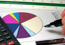 Sales graph. Analysis with pen calculator Stock Photos