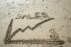 Sales graphic draw in the sand stock image