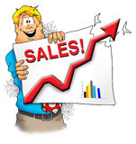 Sales Are Great!. A happy executive showing that sales are off the charts Stock Images