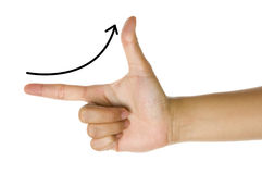 Sales Growth. Line curve in the hand figures Stock Photo