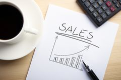 Sales Growth. Business concept paper is on the desk with a cup of coffee and a calculator aside Stock Photos