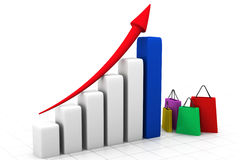 Sales growth chart concept. 3d illustration of Sales growth chart concept Stock Photos