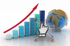 Sales growth chart. 3d illustration on white background. Sales growth chart. Presenting a getting better economy and increase of business income from the sale of Royalty Free Stock Images