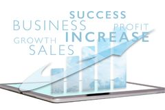 Sales growth chart on tablet screen. Showing increase Stock Photo