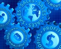 Sales Growth Concept. Digital illustration concept of gears connecting customers to website to sales to profits and growth Stock Images