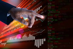 Sales growth graph in stock market. Digital illustration of Sales growth graph in stock market in color background Stock Photography
