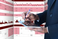 Sales growth graph in stock market. Digital illustration of  Sales growth graph in stock market in color background Stock Photo
