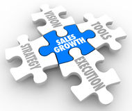Sales Growth Puzzle Pieces Vision Strategy Tools Execution Stock Photo