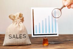 Free Sales Growth Research Concept. Money Chalk With Graph And Magnifying Glass Stock Photography - 191927982