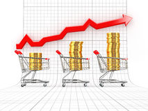 Sales growth. Shopping basket with coins Royalty Free Stock Images