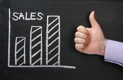 Sales Growth Thumbs Up. A graph showing Sales rising on a blackboard with a hand in a business shirt giving the okay thumbs up Royalty Free Stock Image